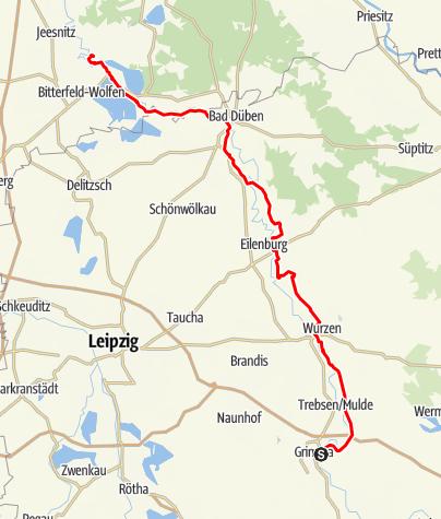 Karte / Mulderadweg von Grimma bis Muldenstein
