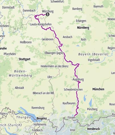 Map / Romantische Strasse westvariant