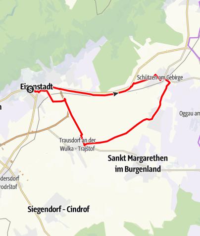 Karte / Festival Radweg | Variante Eisenstadt - Schützen - Oslip - Trausdorf - Eisenstadt
