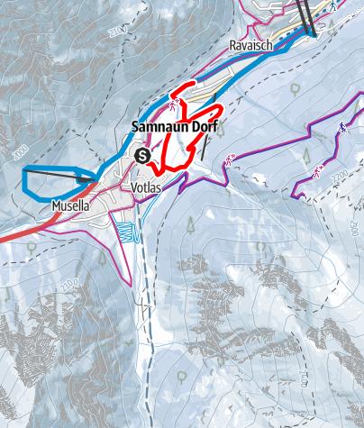 Map / Samnaun Dorf Votlas - Eisplatz Clis da Ravaisch (W7)