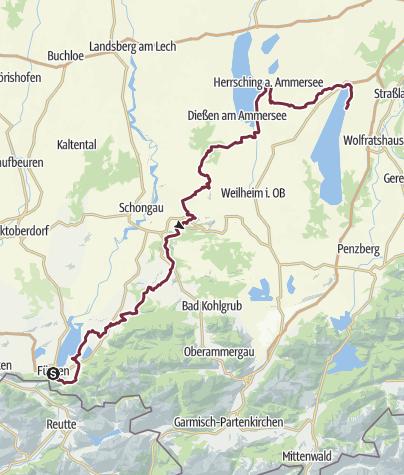 Karte / König-Ludwig-Weg Gesamttour Landroute