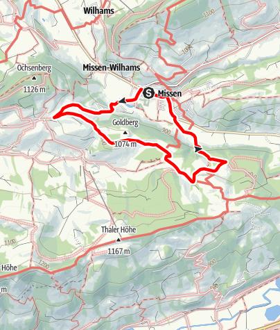 Karte / Terrainkurweg Missen-Wilhams Nr. 2