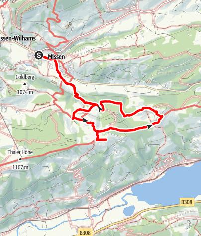 Karte / Terrainkurweg Missen-Wilhams Nr. 5
