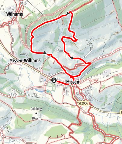 Karte / Terrainkurweg Missen-Wilhams Nr. 6