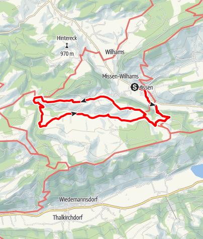 Karte / Terrainkurweg Missen-Wilhams Nr. 10