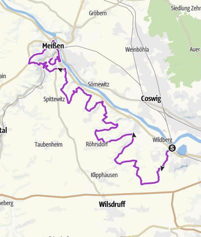 Map / Marathon Niederwartha Meissen 19.04.15