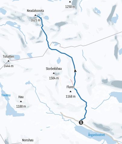 Map / Skiing route from Bårdsgården to Neådalssnota
