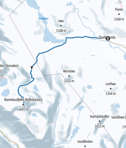 Map / Skiing route from Storli to Klingrokkammen