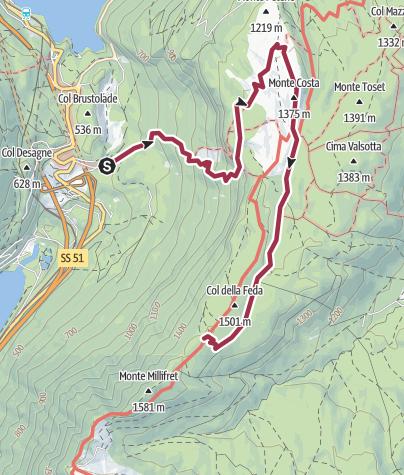 Mapa / Gaviol - Malga Mezzomiglio - Pian Dea Pita