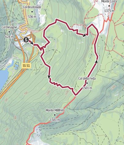 Map / Fadalto - Pian Dea Pita - Malga Mezzomiglio