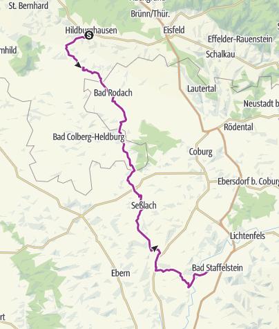 """Karte / Radtour - """"Werra-Obermain-Radweg"""" (Alternativroute Ost) - Hildburghausen nach Bad Staffelstein"""