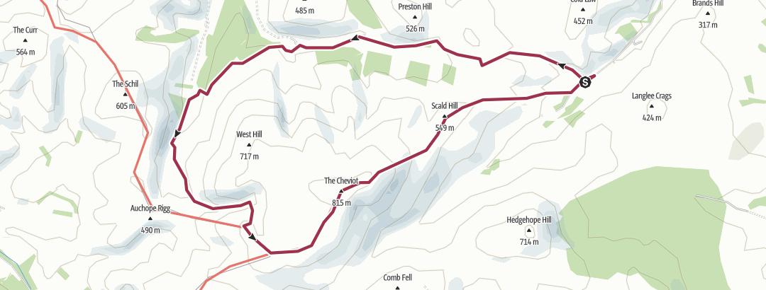 Mapa / Northern Hills 29/07/17 Cheviot via the Hen Hole