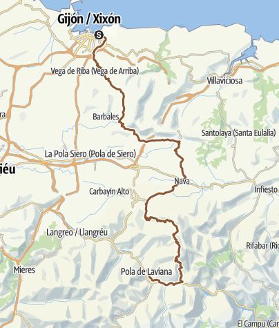 Map / Gijón-Laviana por caminos