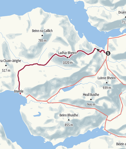 Map / Barisdale to Inverie by Ladhar Bh. North. Ridge