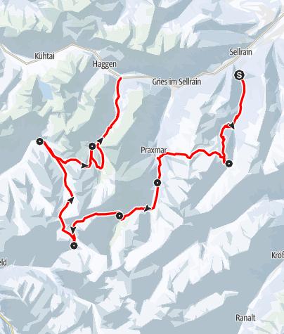 Karte / SHR im Winter: Die Sellrainer Hüttenrunde