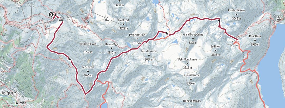 Térkép / Haute Route Day6 Cab du Mont Fort to Cab Prafleuri