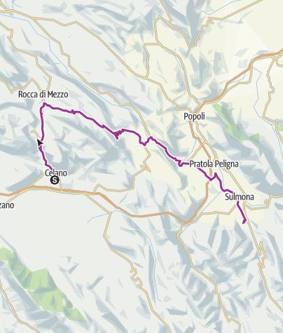 Map / Celano to Sulmona via Prati del Sirente