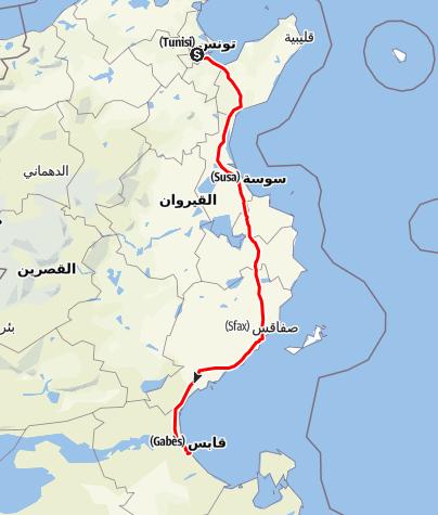 Mappa / Tunisi - Gabés (treno)