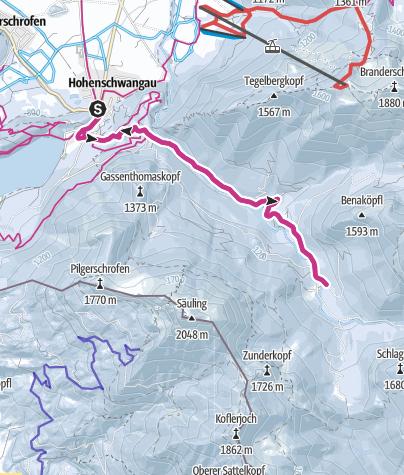 Karte / Winterwanderung zur Bleckenau, Schwangau