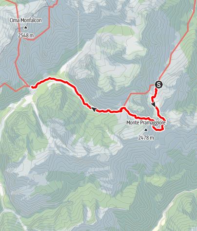 Map / Wanderrunde Friulanische Dolomiten - Etappe 2: Rifugio Flaiban-Pacherini - Rifugio Pordenone