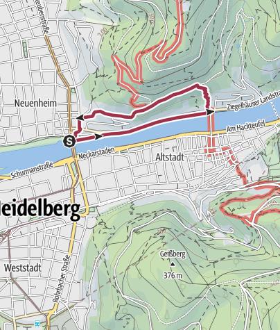 Karte / Der Philosophenweg in Heidelberg