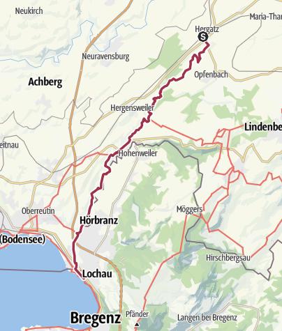 Karte / Leiblach-Wanderweg von Hergatz zum Bodensee