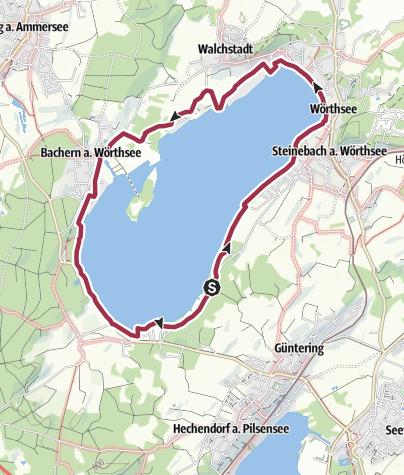 Mapa / Rund um den Wörthsee bei Inning