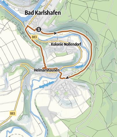 Karte / Bad Karlshafen -  Nordic Walking um die Barockstadt (Tafel 2, Strecke 1)