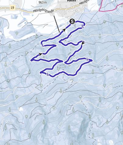 Karte / Rodeltour bei Rinn mit Blick auf die Nordkette Innsbrucks