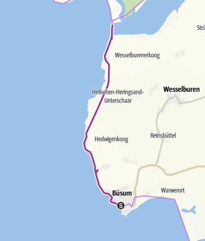 Karte / Von Büsum zum Eidersperrwerk