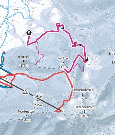 Karte / Winterwanderung zur Dreh- und Rohrkopfhütte in Schwangau