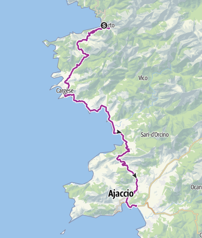 Kartta / Corsica 4 - Porto to Ajaccio