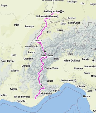 Karte / Tour des Alpes 2009