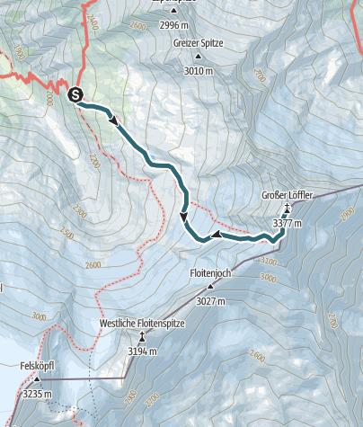 Map / Großer Löffler: Anspruchsvolle Hochtour von der Greizer Hütte