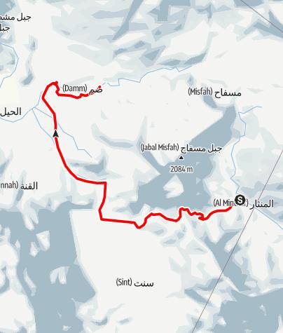 Mapa / 2014 05 25 From shams plateau to wadi DAMM