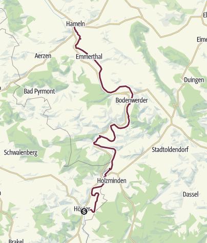 Kaart / Weser-fietsroute - Etappe van Höxter naar Hameln
