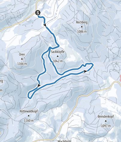 Karte / Winter - Bernau Schwarzwald: Langhalden-Loipe