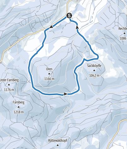 Karte / Winter - Bernau Schwarzwald: Oren-Loipe