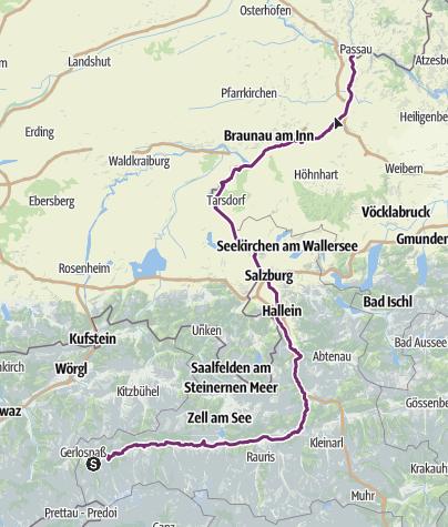 Karte / Tauernradweg Krimml - Passau Gesamtverlauf