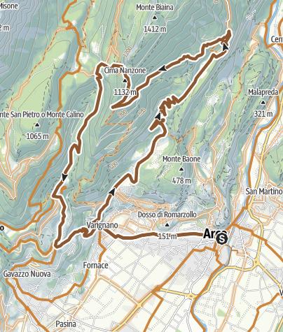 Karte / Von Arco über den Bocca di Tovo