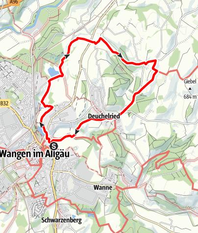 Karte / Wangen - Über Hammerweiher, Zurwieser Höhe und Deuchelried