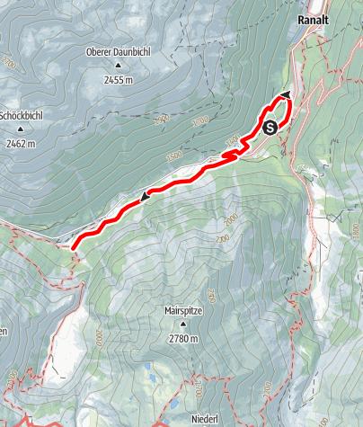 Karte / WildeWasserWeg - Etappe 1: WildeWasserArena - Ruetz Katarakt – Tschangelair Alm – Grawa Wasserfall / Grawa Alm