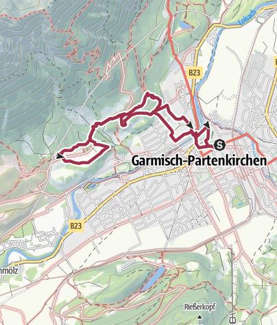 Map / Hike along the Kramerplateau trail above Garmisch-Partenkirchen