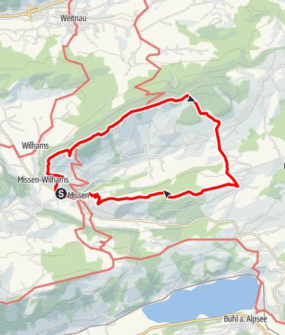 Karte / Missen-Klammweg-Hauchenberggrat-Alpkönigblick-Diepolz-Knottenried-Kühberg-Missen