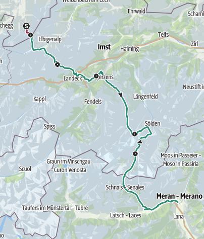 Map / Alpine crossing on E5 - From Oberstdorf to Meran