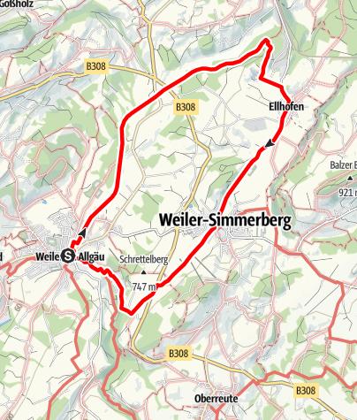 Karte / Weiler-Simmerberg R1 Geh- und Radweg - Ellhofen - Simmerberg