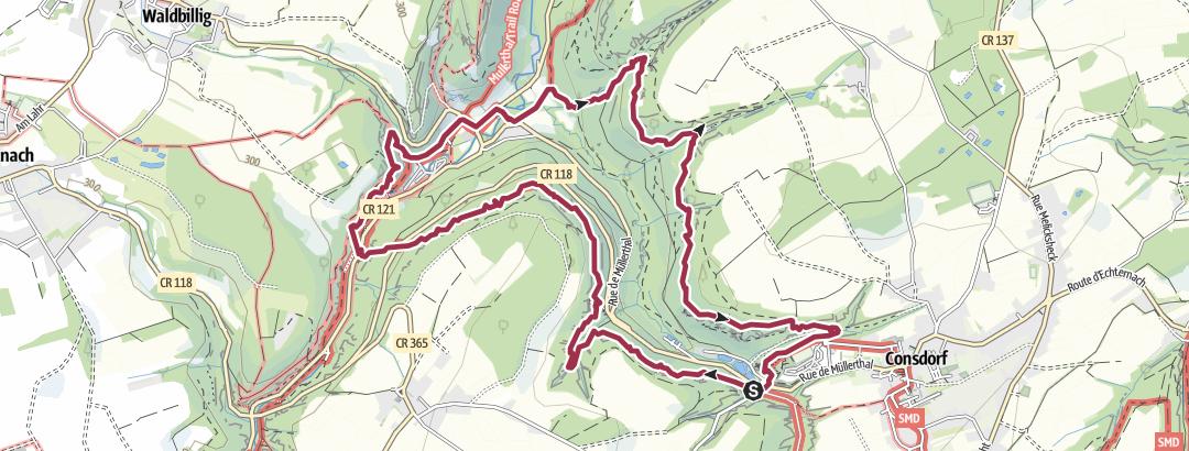 Hartă / Route von Autopédestre Consdorf