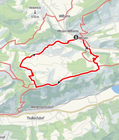 Karte / Missen-Pfarralpe-Thaler Höhe-Salmaser Höhe-Hirnbeinalpe-Wiederhofen-Missen