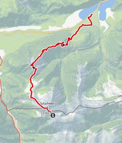 Map / Über Fleischbank und Schafreiter durchs Karwendelvorgebirge. Tag 2 Tölzer Hütte - Schafreiter - Fall