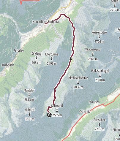 Karte / Abstieg von der Innsbrucker Hütte